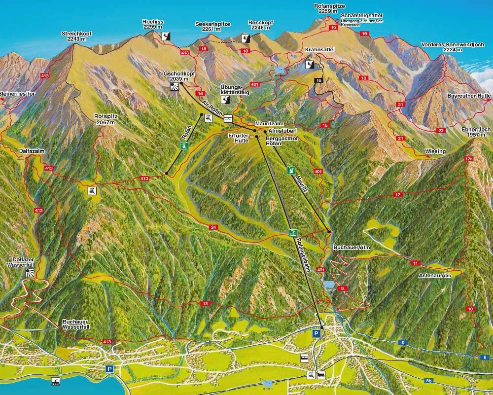 Das Panorama auf der Rofan Karte