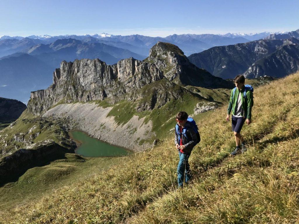 Auf dem Weg zum Gipfel der Rofanspitze - unten im Bild: Der Grubersee